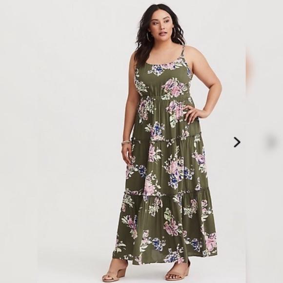 6fe92903897 torrid Dresses   Olive Green Floral Maxi Dress Size 2x   Poshmark